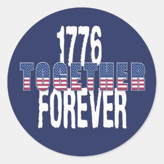 Adesivo Redondo EUA América Dia da Independência o 4 de julho