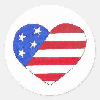 Adesivo Redondo EUA amor patriótico do coração da bandeira