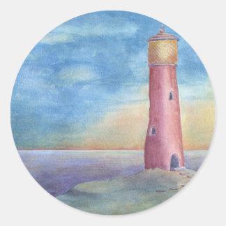 Adesivo Redondo Evening at the lighthouse