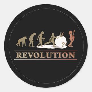 Adesivo Redondo Evolução da revolução do homem das mulheres ID462