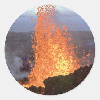 Adesivo Redondo explosão do vulcão da lava