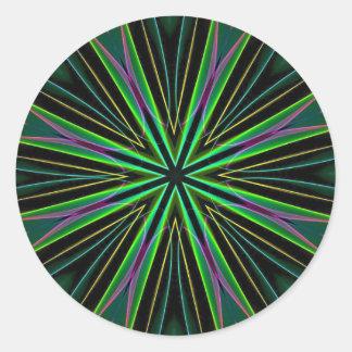 Adesivo Redondo Explosão verde fluorescente de néon da estrela da