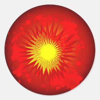 Adesivo Redondo Explosão vermelha dos desenhos animados