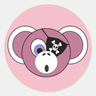 Adesivo Redondo Eyepatch feminino do animal da selva do rosa do