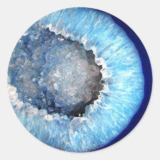 Adesivo Redondo Falln Geode de cristal azul