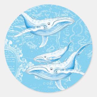 Adesivo Redondo Família das baleias azuis