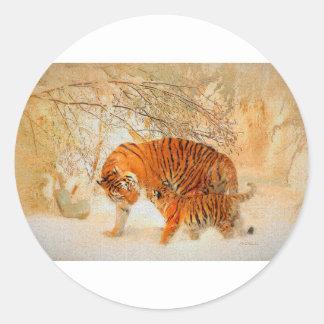 Adesivo Redondo Família em um blizzard - PaintingZ do tigre