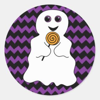 Adesivo Redondo Fantasma assustador do Dia das Bruxas com pirulito
