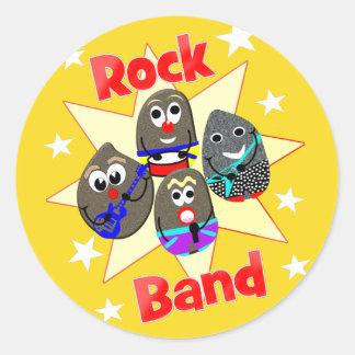 Adesivo Redondo Fãs engraçados da pintura da rocha do grupo de