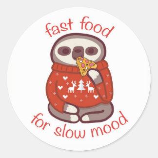 Adesivo Redondo fast food para o humor lento