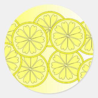 Adesivo Redondo Fatias do citrino na cor brilhante da tendência