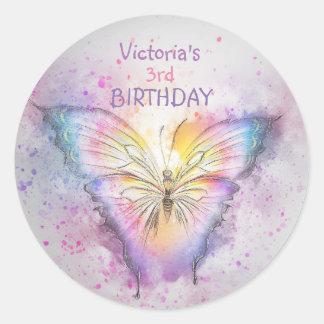 Adesivo Redondo Favor bonito da menina do aniversário da borboleta