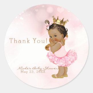 Adesivo Redondo Favor cor-de-rosa do chá do bebé da princesa