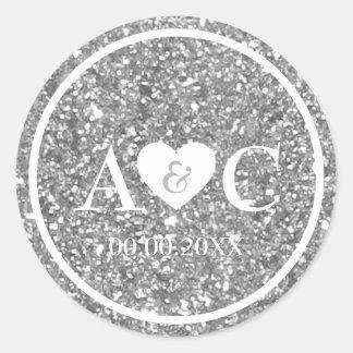 Adesivo Redondo Favor de prata do casamento do monograma do brilho