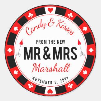 Adesivo Redondo Favor do casamento da microplaqueta de póquer do