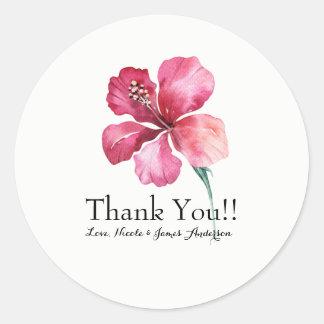 Adesivo Redondo Favor floral do casamento da flor do hibiscus