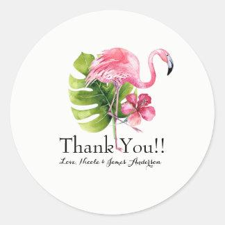 Adesivo Redondo Favor tropical do casamento do flamingo do
