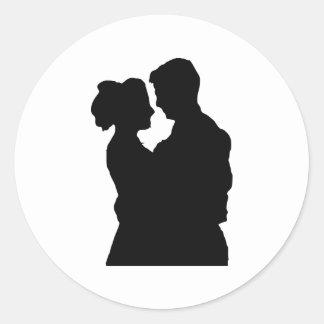 Adesivo Redondo Favores do casamento - silhueta do casal