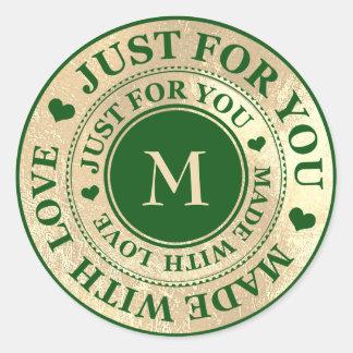 Adesivo Redondo Feito com grama verde de Cali do ouro do monograma