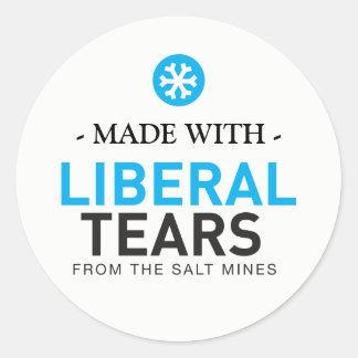 Adesivo Redondo Feito com os flocos de neve liberais MAGA