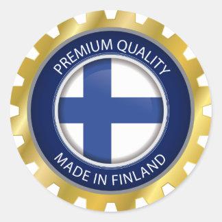 Adesivo Redondo Feito em Finlandia, bandeira finlandesa