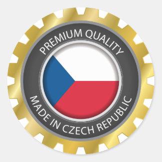 Adesivo Redondo Feito na bandeira da república checa, selo checo
