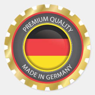 Adesivo Redondo Feito na bandeira de Alemanha, selo alemão das