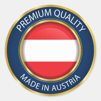 Adesivo Redondo Feito na bandeira de Áustria, selo austríaco,