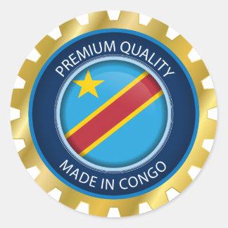 Adesivo Redondo Feito na bandeira de Congo, a República