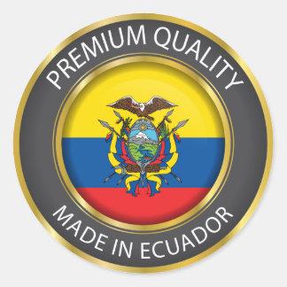 Adesivo Redondo Feito na bandeira de Equador, república do selo de