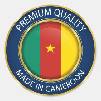 Adesivo Redondo Feito na bandeira de República dos Camarões,