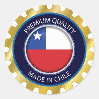 Adesivo Redondo Feito na bandeira do Chile, cores chilenas
