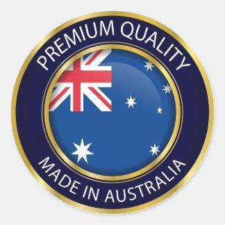 Adesivo Redondo Feito no selo de Austrália, bandeira australiana