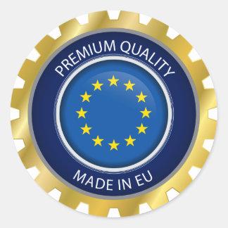 Adesivo Redondo Feito no selo de Europa, ícone europeu da bandeira