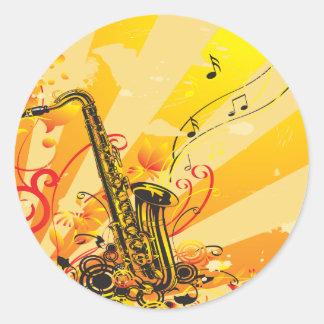 Adesivo Redondo Feixes jazzísticos do saxofone da música