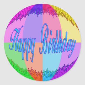 Adesivo Redondo Feliz aniversario colorido