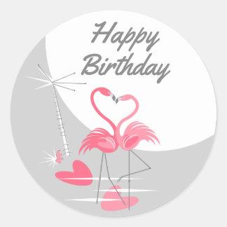 Adesivo Redondo Feliz aniversario da grande lua do amor do