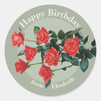 Adesivo Redondo Feliz aniversario das rosas vermelhas de Elisabeth