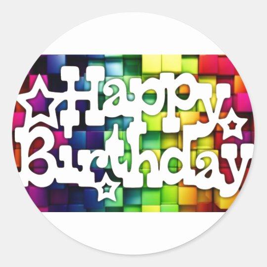 Adesivo Redondo Feliz Aniversário - Happy Birthday