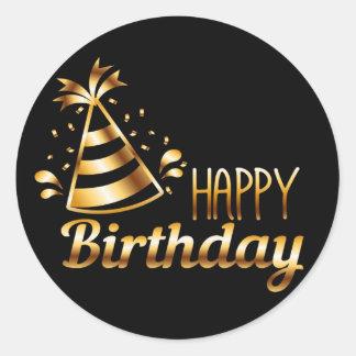 Adesivo Redondo Feliz aniversario - preto & ouro 3 S