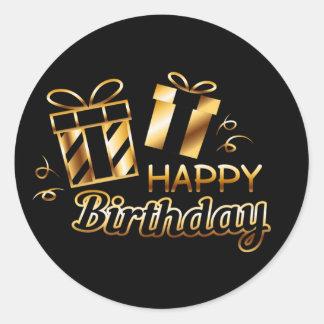 Adesivo Redondo Feliz aniversario - preto & ouro 4 S