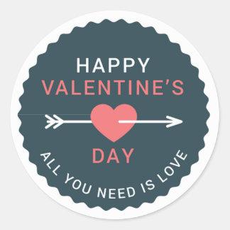 Adesivo Redondo Feliz dia dos namorados do coração da seta