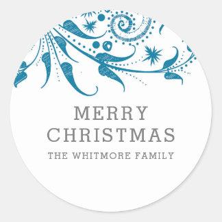Adesivo Redondo Feliz Natal azul de Frost