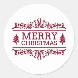 Adesivo Redondo Feliz Natal branco e vermelho
