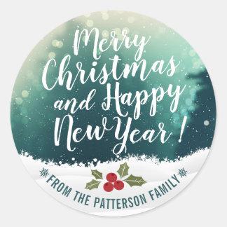 Adesivo Redondo Feliz Natal & cartões de natal do feliz ano novo