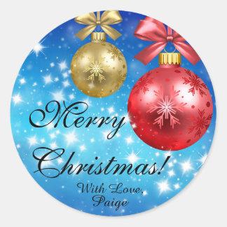 Adesivo Redondo Feliz Natal com o amor personalizado