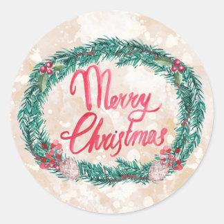 Adesivo Redondo Feliz Natal da grinalda do pinho da aguarela