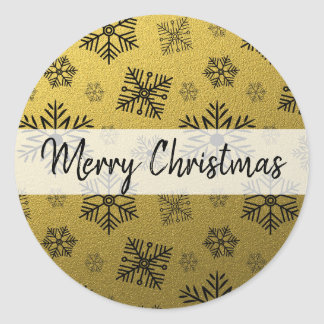 Adesivo Redondo Feliz Natal do floco de neve do brilho do ouro