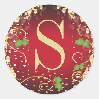 Adesivo Redondo Feliz Natal do monograma