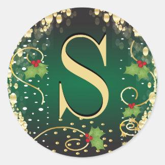 Adesivo Redondo Feliz Natal do monograma - verde